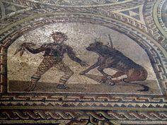 Detail of the Gladiator mosaic floor, century AD, Römerhalle, Bad Kreuznach, Germany Ancient Rome, Ancient Greek, Roman Mosaics, Roman History, Pompeii, Antique Art, Archaeology, Germany, Floor