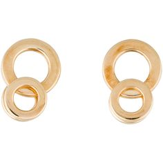 Pre-owned Movado Circle Drop Earrings ($475) ❤ liked on Polyvore featuring jewelry, earrings, pink gold earrings, 18k earrings, rose gold earrings, circle earrings and rose gold drop earrings