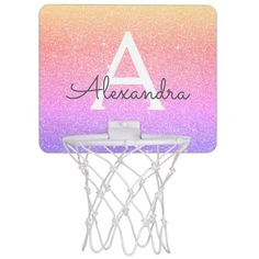 Rainbow Glitter & Sparkle Monogram Name Mini Basketball Hoop - tap/click to get yours right now! #MiniBasketballHoop  #elegant #monogram #monogrammed #girly #glitter