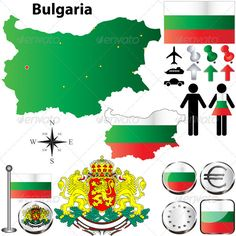 Bulgaria Map Bulgaria vector set with country shape, flags and symbols on white background. Package contains: EPS version), JPG pixels, RGB ) Created: GraphicsFilesIncluded: VectorEPS Layered: No MinimumAdobeCSVersion: CS Tags: administrative Flags Of The World, Country Art, String Art, Geography, Paper Art, Continents, Symbols, Shapes, Graphic Design