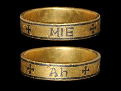 Anglo-Saxon Gold Ring of Aedelfled, Century With owner's inscription in Insular script '+ÆDELFLED+MIE+Ah' (for Æðelflæd me ah 'Æ. owns me') Anglo-Saxon Gold Ring Renaissance Jewelry, Medieval Jewelry, Viking Jewelry, Ancient Jewelry, Wiccan Jewelry, Antique Rings, Antique Jewelry, Anglo Saxon History, Tudor History