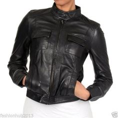 fd82964ca202 Member s Only Women s Black Sylvia Leather Jacket - Overstock™ Shopping -  Top Rated Members Only Jackets