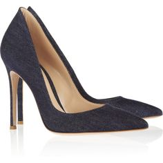 Gianvito Rossi Denim pumps ($495) via Polyvore