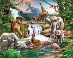Fotobehang of wandstickers. kinderkamer behang wilddieren decoratie behang Jungle dieren posterbehang, fotobehang muur de kinderkamer decoratie van Walltastic.