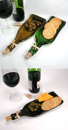 Wine bottles have a great potential for reuse. If you care for the environment, try out some of these DIY wine bottle crafts. Melted Wine Bottles, Wine Bottle Art, Diy Bottle, Wine Bottle Crafts, Wine Bottle Planter, Recycled Wine Bottles, Painted Wine Bottles, Glass Bottles, Bottle Candles