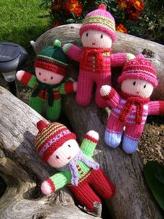 knitted dolls Ravelry: Project Gallery for Rainbow Babies pattern by Jean Greenhowe Knitted Doll Patterns, Knitted Dolls, Crochet Dolls, Baby Patterns, Knitting Patterns, Crochet Patterns, Knitting For Kids, Loom Knitting, Baby Knitting