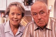 One Foot In The Grave  The grumpy complainer and accident prone Victor Meldrew takes early retirement and finds he has far too much time on his hands. His long suffering wife and neighbours just have to grin and bear it.