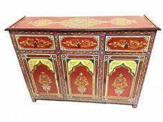 Moroccan Handpainted Wood Storage Cabinet Red Arabesque Furniture Armoire Drawer #AntiqueStyle