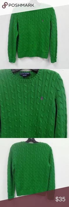 Lauren Ralph Lauren Green Cable Sweater Sz. M Made in Hong Kong. 100% Cotton. In EXCELLENT condition. Lauren Ralph Lauren Sweaters