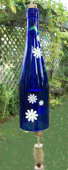 Wine bottle wind chime - blude  Re-pinned ♥ ~ https://www.facebook.com/homebazaarllc ~ ♥