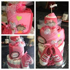 Diaper cake for baby shower. Diaper cake i made using Carter's onesies, matching blanket and shoes. Davina :)