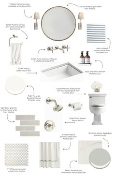 A design board for a Pale Neutral bathroom. Perfect timing because I'm getting ready to renovate a bathroom. Neutral Bathroom, Modern Bathroom, Small Bathroom, Parisian Bathroom, Timeless Bathroom, White Bathrooms, Bathroom Colors, Classic Bathroom, Luxury Bathrooms
