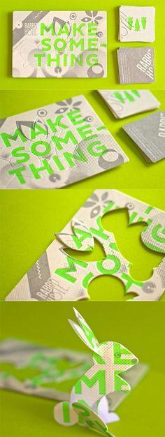 Clever Die Cut Letterpress Business Card Turns Into A Rabbit Sculpture