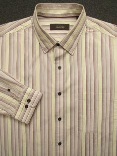 9e2afa6db25f3c Men s Multi-Color Striped TASSO ELBA long sleeve Casual Shirt XL  fashion   clothing
