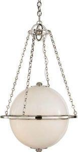 Sterne Polished Nickel White Globe Pendant Light
