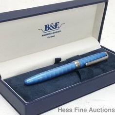 Baby Blue Enamel Guilloche Bossert Erhard Sterling Silver Fountain Pen w Box CNX #BossertErhard