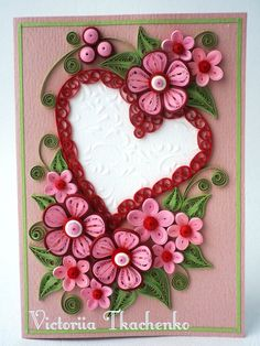 Valentine Quilling Card - Valentine's Day quilling Card - Anniversary quilling Card - Love quilling card - Red Heart