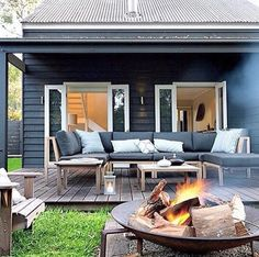 Three Birds Renovations Outdoor Rooms, Outdoor Living, Outdoor Decor, House Exterior Color Schemes, Three Birds Renovations, Back Patio, Inspired Homes, House Colors, Building A House