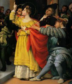 Lorenzo Lotto (Venezia, 1480 - Loreto, 1557), Santa Lucia davanti al giudice, particolare,1532, Jesi, Pinacoteca civica (già nella chiesa di San Floriano a Jesi), olio su tela, 243 x 237 cm