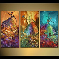 ORIGINAL Palette Knife Painting Art Ballet Girls Ballerina Painting Thick Texture By Osnat Tzadok --LOVE IT!!