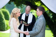 Bride and Groom Doing Hand Ceremony Reading