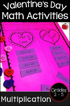 Valentine's Day multiplication activities for your 2nd grade, 3rd grade, 4th grade, or 5th grade students. These multiplication worksheets will have students practicing their multiplication facts and answering Valentine's Day riddles. Low prep for the teacher and engaging Valentine's Day activities for the students. Use as whole class math lessons or put in your math centers! #ValentinesDay #multiplication Multiplication Activities, Teaching Activities, Teaching Resources, Teaching Ideas, Second Grade, Fourth Grade, Teacher Notebook, Valentines Day Activities, Elementary Math