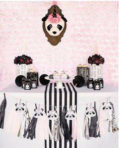 """You don't want to miss this Panda + Unicorn party.yes, a """"Pandacorn"""" Birthday Party! See it here at Kara's Party Ideas! Panda Decorations, Baby Shower Decorations For Boys, Baby Shower Themes, Shower Ideas, Panda Birthday Party, 1st Birthday Parties, Birthday Ideas, Theme Parties, 4th Birthday"""
