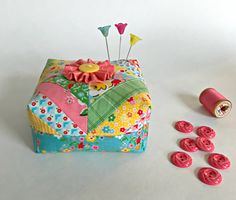 Scrappy Strips Patchwork Pincushion Sewing by CurryBungalow