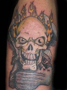 Skull tattoo, panhead tattoo, motorcycle tattoo, motor tattoo, Harley tattoo, Harley Davidson tattoo, arm tattoo, mens tattoo