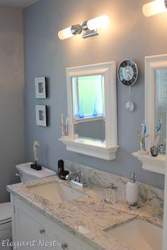 Colorful bathroom mirrors bathroom mirror ideas morning fog love the mirrors with the ledges paint colors Bathroom Renos, Small Bathroom, Bathroom Mirrors, Bathroom Ideas, Floor Mirrors, Paint Bathroom, Bathroom Goals, Bathroom Organization, White Bathroom