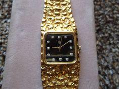 Vintage Paul Breguette Men's Watch Gold Plated Small Diamonds Nugget #PaulBreguette #Dress