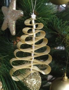 christmas tree easy ornament kids | finished ornament gold bead type 1 finished ornament silver ribbon