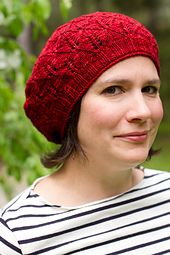 The Frick Frick BERET! pattern includes instructions for two sizes; options for either plain or rolled-edge brims; and both charts and written instructions for the lace pattern and crown decreases.