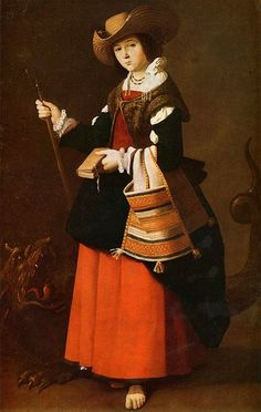 Spanish painter Francisco de Zurbarán was born in He's best known for paintings of single figures of saints and monks. 'Saint Margaret of Antioch' by Francisco de Zurbarán The National Gallery, London Caravaggio, Francisco Zurbaran, Ste Marguerite, Esteban Murillo, 17th Century Fashion, Santa Margherita, National Gallery, St Margaret, Baroque Art