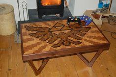DIY Legend of Zelda Hylian Crest Pixel Art Coffee Table