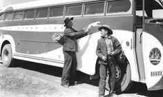 Lon Chaney, Jr as Lennie, and Burgess Meredith as George in the 1940 film version of Steinbeck's novel.