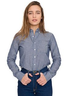 Chemise Chambray Unisexe Manches Longues avec Poche | American Apparel
