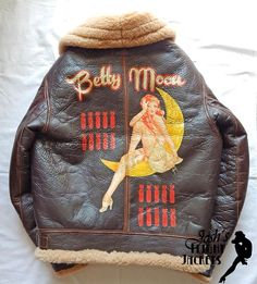 WWII US Army Air Force Nose Art Pin up Hand Painted Flight Jacket B-3 Eastman Leather
