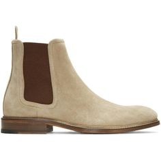 Tiger of Sweden Tan Suede Montan Chelsea Boots ($305) ❤ liked on Polyvore featuring men's fashion, men's shoes, men's boots, tan, mens tan suede shoes, mens leather sole shoes, mens suede boots, mens tan shoes and mens tan chelsea boots