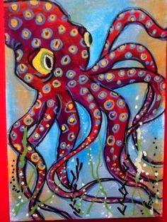 I can see making a fun octopus like this with oil pastel.  Then water color wash to make it look under the water.  He's cute!