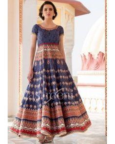 Blue Silk Floor Length Anarkali