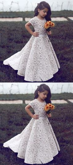cute ivory lace flower girl dresses, rustic short sleeves flower girl dresses, sweet little girl dresses