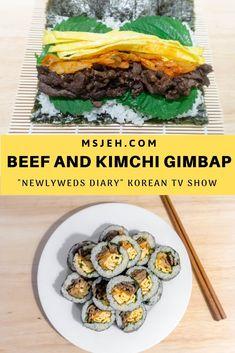 "Simple Korean kimbap made from easy to find home ingredients featured on Korean TV show ""Newlyweds Diary"". Beef Marinade, Marinated Beef, Korean Dishes, Korean Food, Korean Kimbap, Gimbap Recipe, Asian Recipes, Healthy Recipes, Kimchi"