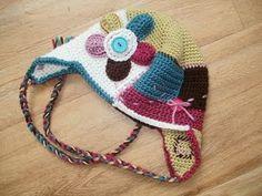 Crochet patchwork hat complete