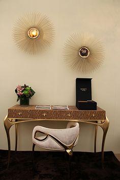 http://www.bykoket.com/guilty-pleasures/casegoods/temptation-console.php elle decor furniture, black and gold furniture, living room design ideas, 2015 home decor trends