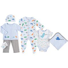 Seven Piece Light Blue Dinosaur Baby Set