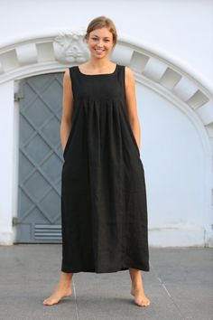 Linen dress. Long Black linen dress / Loose summer by LinenCloud