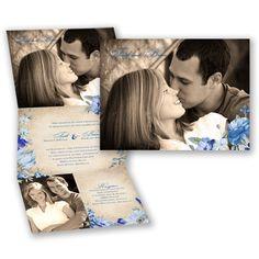 Floral Photo Wedding Invitation - Horizon Blue - Z-Fold, Custom at Invitations By David's Bridal