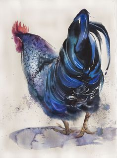 blue rooster # 1 watercolor on paper 28*38 sm arches 300 @Olga Flerova