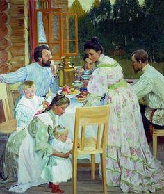 Boris Kustodiev (1878-1927): En la terraza, 1906.